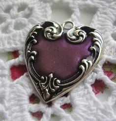 Piddidly Links Co Vintage Purple Heart Charm Pendant Enamel Victorian Style