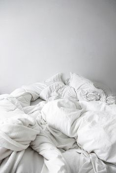 This looks like a comfy bed! All white aesthetic is very simple and clean. Unmade Bed, Living Spaces Furniture, Space Furniture, Messy Bed, White Sheets, Clean Sheets, Shades Of White, White Aesthetic, White Bedding
