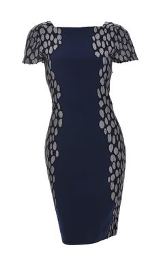 DVF cap sleeved panel dress in navy - Avaliable at Stanwells.com