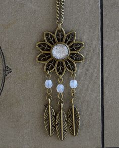 Filigree necklace, Feathers pendant, Brass and white necklace, Boho chic necklace, Bohemian pendant, Sparkling glass dome jewelry