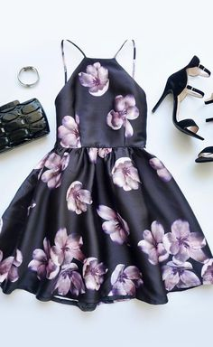 Backless black and purple floral print dress
