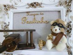 Porta Maternidade Urso Aviador Baby Decor, Gabriel, Bear, Frame, Home Decor, Baby Room Boys, Handmade Products, Door Hangings, Industrial Kids Decor