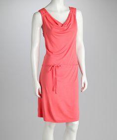 Coral scoop neck lace shoulder dress