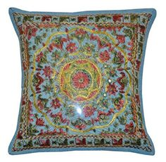 Amazon.com: Handmade Embroidered and Mirror Work Indian Cotton Throw Pillow Cushion Covers 16 X 16 Inches Set of 5 Pcs: Home & Kitchen