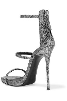 Giuseppe Zanotti - Metallic Lizard-effect Leather Sandals - Silver - IT35.5