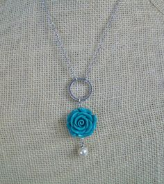 Turquoise rose necklace $18