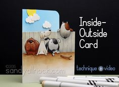 Sandy Allnock - Inside Outside Card: Make My Tail Wag Fun Fold Cards, Cute Cards, Envelopes, Sandy Allnock, Dog Cards, Mft Stamps, Card Making Techniques, Card Patterns, Animal Cards