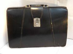 Vintage c 1950s 60s Suffolk England Black Leather Briefcase / Doctors Bag