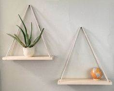 Hanging Shelves, Rope Shelf, Hanging Planter, Wall Planter, Wood Shelf, Swing Shelves, Bathroom Decor, Wall Decor, Minimalist, Rustic, Maple
