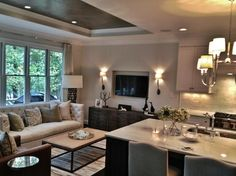I like the recessed ceiling. Heather Garrett Design: Stunning kitchen opens to living room. Living room with recessed ceiling painted . Open Kitchen And Living Room, Home Living Room, Living Spaces, Room Kitchen, Nice Kitchen, Kitchen Small, Kitchen Cupboards, Small Living, Family Room Decorating