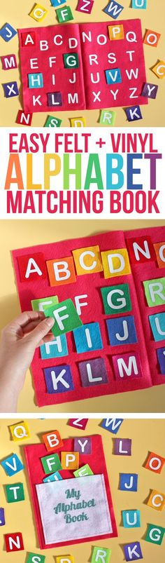 Alphabet Matching Game | Felt Quiet Book Ideas | Heat Transfer Vinyl on Felt | Felt Book Craft for Toddlers and Preschoolers | Handmade gift ideas for young children