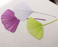 Embroidery Stitchery of Gingko Leaves. LOVE THE STITCHING!! jwt