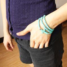 Fashion turquoise cross necklaces & pendants cross bracelet turquoise cross beads sideways cross bracelet necklace nkej65