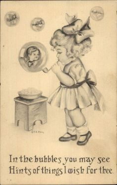 CE Perry - Little Girl Blowing Bubbles Postcard Blowing Bubbles, Illustration Art, Vintage Illustrations, Vintage Children, Illustrators, Little Girls, Art Drawings, Place Card Holders, Fun