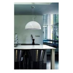 A gorgeous and large ceiling pendant in a classic dome shape in a glossy silver finish. The real magic is on the inside however, with a silver finished inner in a pleated design. There is also a frosted diffuser to protect from glare, which offers a wonderful crisp illumination. Perfect over tables, in kitchens or any other modern social area throughout the home. Measuring 60 cm in diameter, this is great to add a focal feature and would be ideal for use in large rooms, bars, cafes and…
