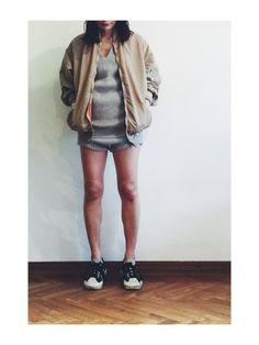 Noriko Kikuchi│FUMIKA_UCHIDA'sMilitary jacketLooks-WEAR Fasion, Bomber Jacket, Hipster, Bomber Jackets, Hipsters, Hipster Outfits, Boyshorts