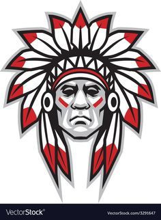 Illustration of Graphic Native American Indian Chief Mascot with Headdress vector art, clipart and stock vectors. Native American Warrior, Native American Artwork, Native American Indians, Native Indian, Native Art, Indian Chief Tattoo, Indian Head Tattoo, Indian Tattoo Design, Tattoo Indien