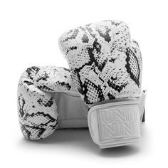 White python leather boxing gloves