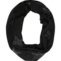 Black heatseal star print snood - scarves - accessories - women