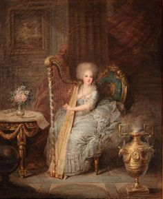 """books0977: """" Madame Élisabeth seated at her harp (1783). Charles Le Clercq (Belgian, 1753–1821). Oil. Palace of Versailles. Élisabeth of France (1764-1794), known as Madame Élisabeth, was a French..."""