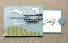 Stampin' Up Sky Is the Limit Pull-Tab Slider Card by #RunningwScissorsStamper, airplane, Wildflower Fields
