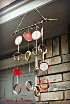 Sense of Wonder: Wesleyan Quadrilateral Wind Chimes (or how to make a wind chime) Tutorial Mason Jar Lids, Mason Jar Crafts, Make Wind Chimes, Outdoor Fun For Kids, Outdoor Play, Mobiles For Kids, Wind Sculptures, Jar Art, Garden Deco
