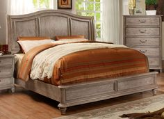 Moline Transitional Camelback Cal-King Bed in Rustic Grey