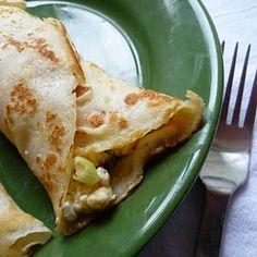 Mediterranean Feta Egg Scramble {Breakfast Wraps Optional} Recipe Lunch and Snacks with eggs, light sour cream, kosher salt, ground black pepper, garlic powder, basil, oregano, feta cheese crumbles, roasted red peppers, green onions, flour tortillas, crepes
