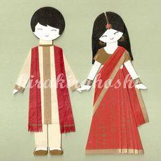 kirakirahoshi indian bride & groom paper dolls