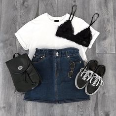 Wonderful Pic Back to School-Outfit black girl Thoughts, Cute Comfy Outfits, Cute Summer Outfits, Trendy Outfits, Fashion Outfits, Womens Fashion, Style Casual, Vans Old Skool, Skirt Outfits, Look Fashion