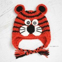 вязание крючком схемы: шапочка тигренок
