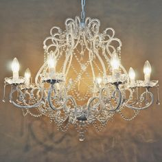 8 Light Cream Shabby Crystal Raindrop Chandelier - Layla Jane