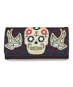 Look what I found on #zulily! Blue Denim Sugar Skull & Sparrows Wallet by Loungefly #zulilyfinds