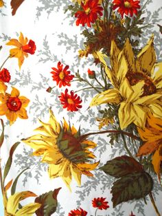 gorgeous daffodils and sunflower vintage fabric