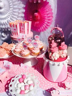 Pink treats at an elephant baby shower party! See more party planning ideas at CatchMyParty.com!