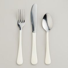 One of my favorite discoveries at WorldMarket.com: White Enamel Flatware. Perfect!