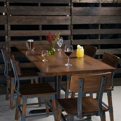 Lancaster Table & Seating 24 inch x 30 inch Solid Wood Live Edge Table Top with Antique Walnut Finish Rustic Restaurant Interior, Brewery Interior, Restaurant Table Tops, Woods Restaurant, Restaurant Design, Brewery Decor, Pizzeria Design, Restaurant Ideas, Live Edge Table