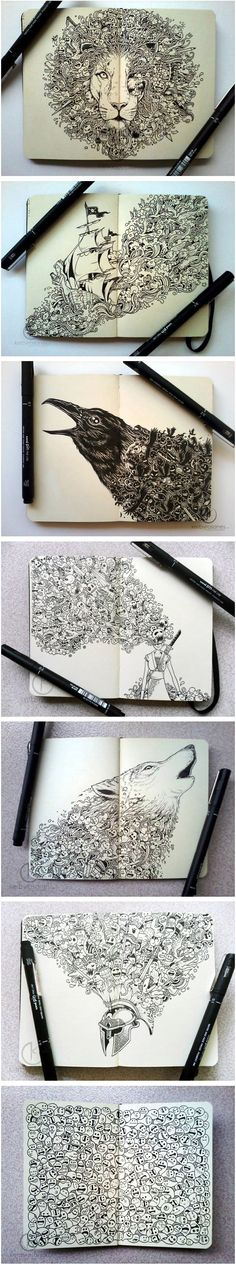 Moleskine Doodles by Kerby Rosanes. #illustration #pen #design