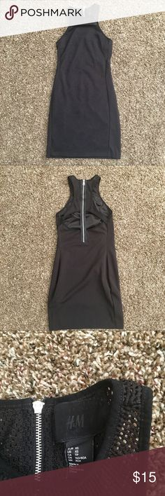"""H&M Racerback Black mesh Dress H&M Racerback Black mesh Dress. XS. Worn one time, in excellent condition. No rips, stains, or pilling. Measurements : shoulder to hem- 31"""", waist-11"""", armpit to armpit- 13"""", straps-1"""", and zipper- 13 1/2"""". Comes from a smoke/pet free home. Make me a offer! H&M Dresses"""