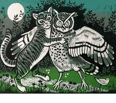 "In the Light of the Moon ~ Linocut ~ Teresa Winchester ......""The Owl and the Pussycat"""