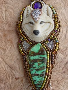 White  Wolf Necklace by HeidiKummliDesigns on Etsy