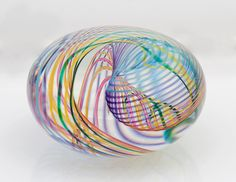 Zephyr Flattened Orb Art-Glass Paperweight by 'Paul D. Harrie' avail 'artfulhome'★༺❤༻★