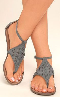 Report Ladon Grey Suede Flat Sandals via @bestchicfashion