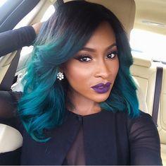 Blue ombré hair on BeautybyJJ