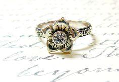 Sterling Silver Vintage Delicate Flower CZ by EternalElementsShop