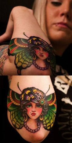 tattoo old school / traditional ink - doll face / butterfly pinup