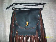 SALE PRICE - OOAK Handmade Premium Black Leather Fringed Purse-Pouch - Native American. $72.59, via Etsy.