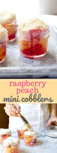 Raspberry Peach Cobbler in Mason Jars. Mason jar dessert: peach raspberry cobble… Raspberry Peach Cobbler in Mason Jars. Mason jar dessert: peach raspberry cobbler in mini mason jars. Mini cobblers for the win! Mason Jar Desserts, Mini Mason Jars, Mason Jar Meals, Easy Desserts, Delicious Desserts, Mini Desserts, Fruit Recipes, Sweet Recipes, Dessert Recipes