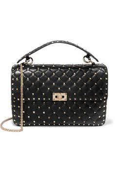 Valentino - Rockstud Spike Large Quilted Leather Shoulder Bag - Black