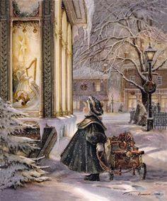 """Star of Wonder"" by Trisha Romance. Love Trisha Romance she is a great artist:) Christmas Scenes, Christmas Past, Christmas Pictures, Winter Christmas, Christmas Carol, Christmas Child, Winter Snow, Christmas Stuff, Illustration Noel"